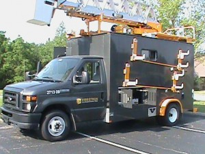 Videotron cable company work truck demonstrating dc to ac power inverter system